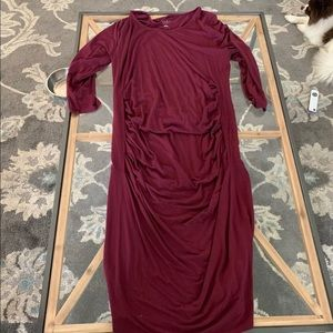 Burgundy ruched maternity dress
